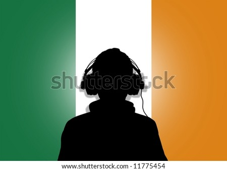 Illustration of a person wearing headphones in-front of the flag of Ireland