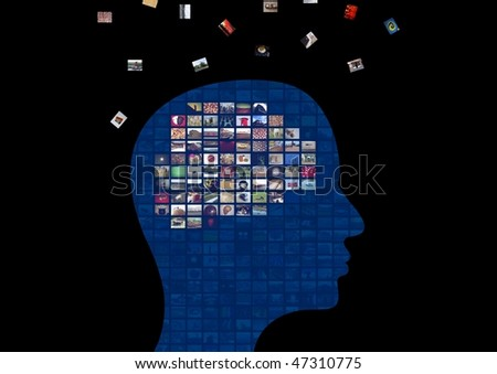 Illustration of a persons head showing the brain made from images that are floating away