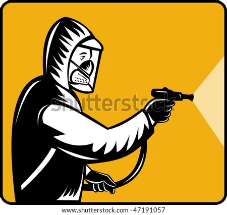 illustration of a Pest control exterminator spraying pesticide