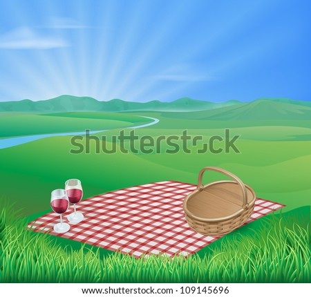 Illustration of a picnic in a beautiful rural scene with wine glasses and wicker basket