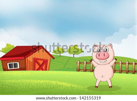 Illustration of a pig in the farm with a barn