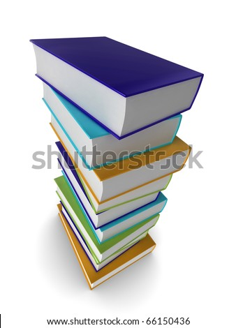 Illustration of a pile of colored (coloured) books