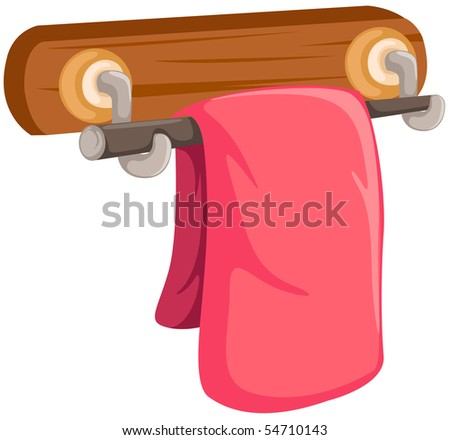 illustration of a pink towel on the wooden rack on white