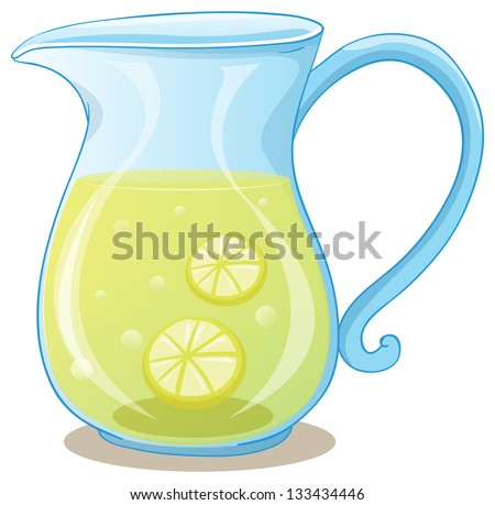 Illustration of a pitcher of lemon juice on a white background