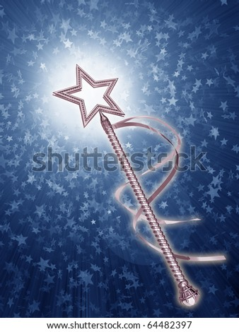 Illustration of a platinum fairy wand on a starry background