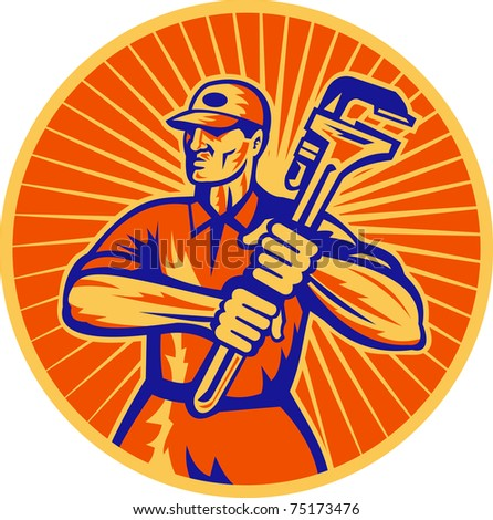 illustration of a plumber holding a monkey wrench set inside circle done in retro woodcut style