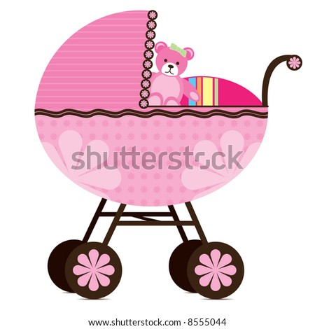 Illustration of a pram for a baby girl. - stock photo