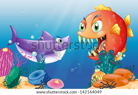 Illustration of a prey and a predator under the sea #142164049