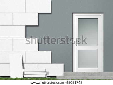 Illustration of a private home with red front covered with isolation material
