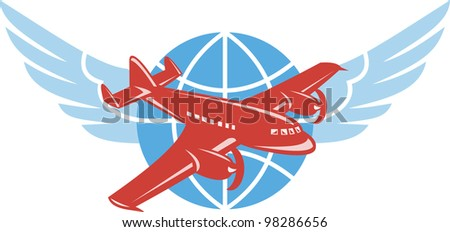 Illustration of a propeller airplane in flight with globe and pair of wings done in retro style.