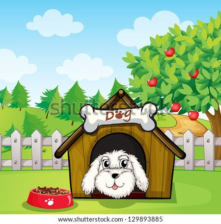 Illustration of a puppy inside a doghouse near an apple tree