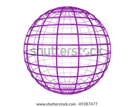 Illustration of a purple 3d wireframe sphere, on a white background