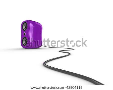 Illustration of a purple glossy speaker with wire, isolated on a white background.