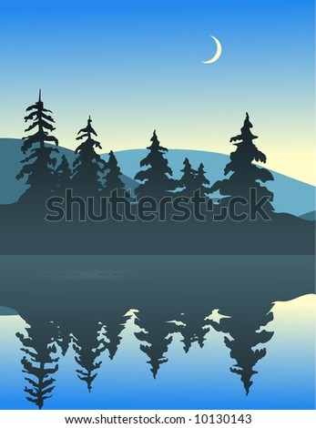 Illustration of a quiet lake view. A sliver of a moon can be seen rising above the hills.