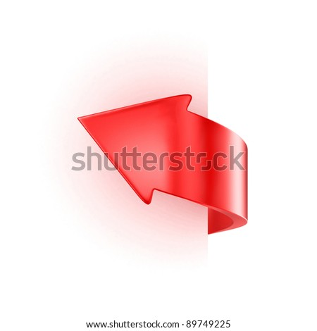 Illustration of a red arrow near sheet of paper