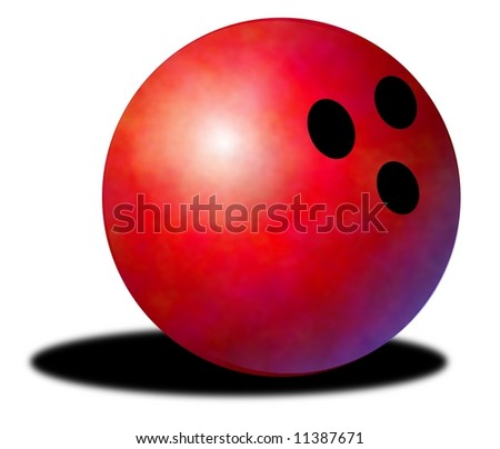 Illustration of a red bowling ball with drop shadow - stock photo
