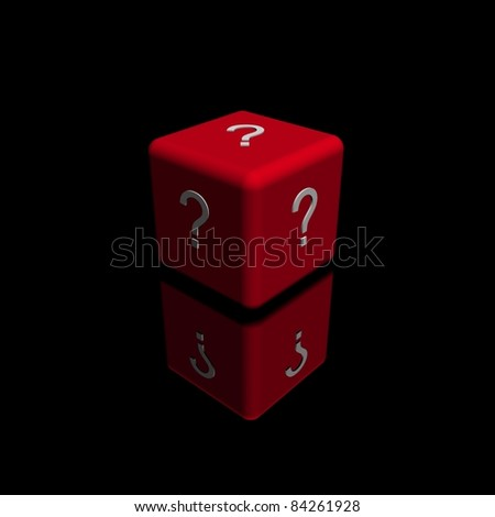 illustration of a red cube or dice, with a question mark symbol on each side.