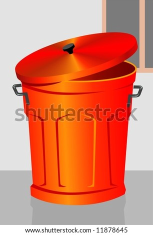 Illustration of a red dustbin