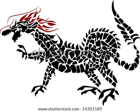 Stock Photo illustration of a red headed dragon