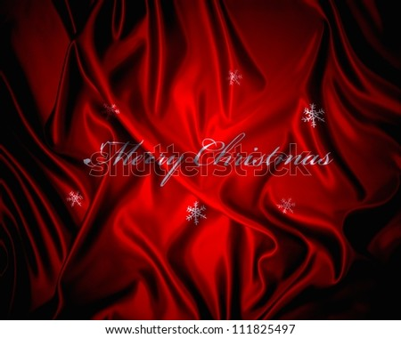 Illustration of a red silk fabric with phrase Merry Christmas.