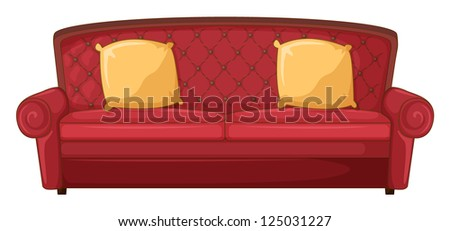 Illustration of a red sofa and yellow cushion on a white