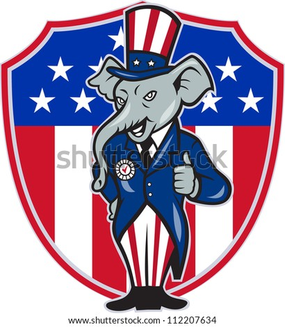 Illustration of a republican elephant mascot of the republican grand old party gop wearing hat and suit thumbs up set inside American stars and stripes flag shield done in cartoon style.