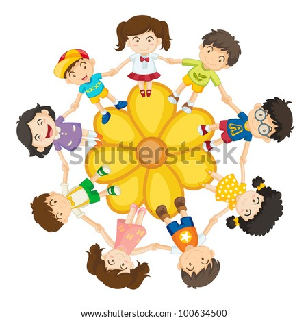 Illustration of a ring of children - EPS VECTOR format also available in my portfolio.