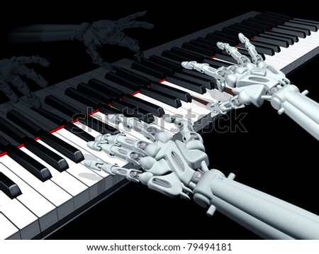 Illustration of a robot playing a grand piano