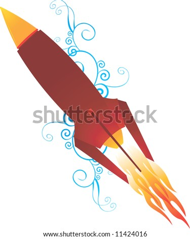 Illustration of a rocket with flame