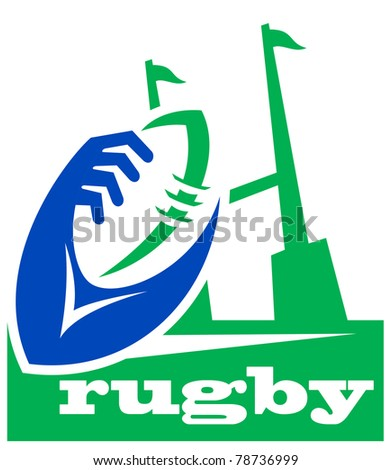 illustration of a rugby ball with hands holding and goal post