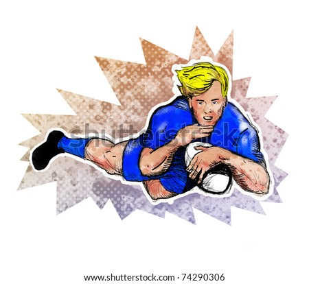 illustration of a Rugby player diving to score a try ball with grunge  texture  background