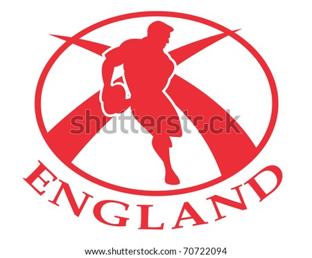 illustration of a rugby player passing the ball side view set inside oval or ball with English flag and words England