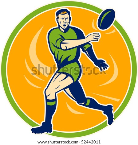 illustration of a Rugby player running and passing ball