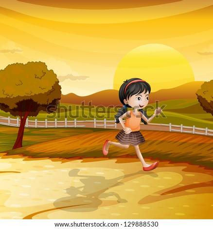Illustration of a running girl
