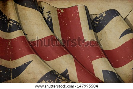 "Illustration of a rusty British Naval  flag of the period 1606-1801 also known as ""The King's Colours"", printed on old paper."