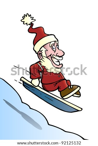 illustration of a santa snowboarder playing in the snow doing freestyle extreme action on isolated background