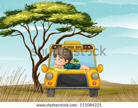 illustration of a school bus and boy in nature