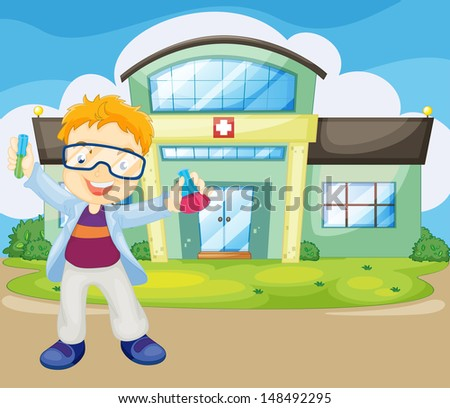 Illustration of a scientist holding an apparatus outside the hospital