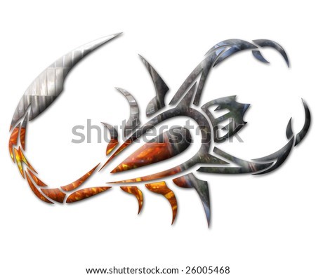 Illustration of a scorpion in chrome Foto stock ©