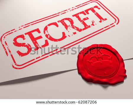 Illustration of a secret document with a wax seal