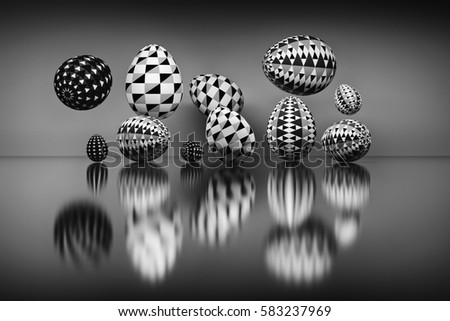 Illustration of a set of Easter eggs with geometric patterns over the reflective surface. Digitally generated image in black and white colors.