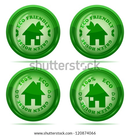 illustration of a set of glossy green house icons isolated on white background