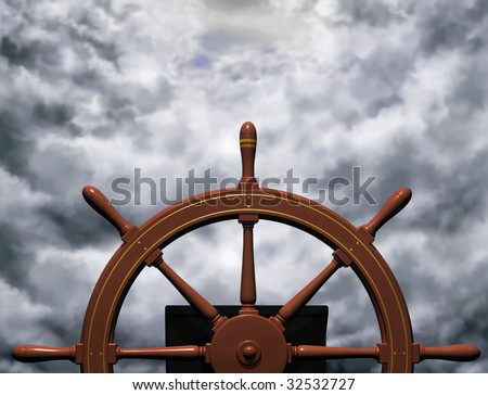 Illustration of a ships wheel steering a steady course through rough waters