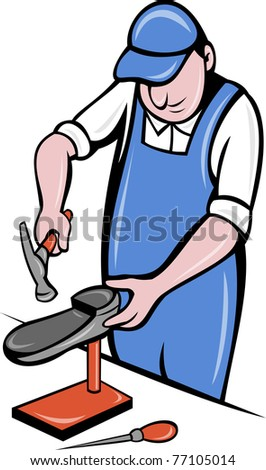 illustration of a shoemaker , cobbler shoe repair working on isolated background done in cartoon style.