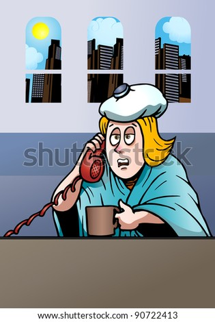 illustration of a sick businesswoman having fever calling her office to have permit not to work today