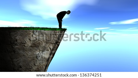 Illustration of a Silhouette of a Guy Looking over a Cliff against a blue cloudy sky
