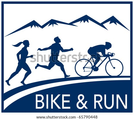 illustration of a silhouette of marathon runner and cyclist  race with mountains and words bike and run done in retro style