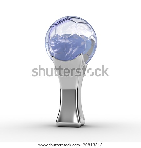 Illustration of a silver football trophy on a white background