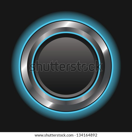 Illustration of a single blue metallic glowing button with room for text or an icon. Raster.