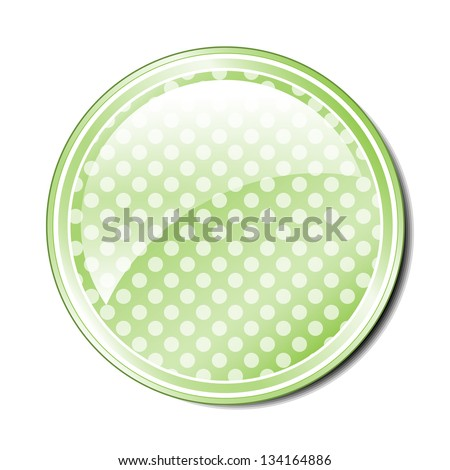Illustration of a single green spotted button with room for text or an icon. Raster.
